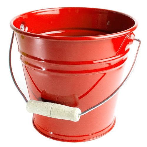 kids enamel metal bucket sand pail red blue