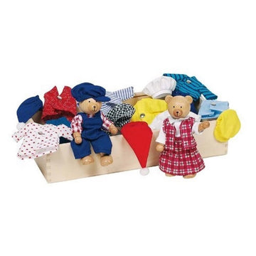 Goki Dress-Up Bears Wooden Dolls