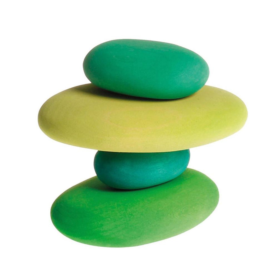 Colored Wooden Pebble Blocks - Moss
