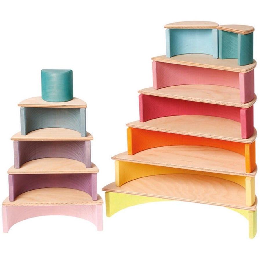 Grimm's Wooden Semicircles and 12 Piece Pastel Rainbow Tunnel