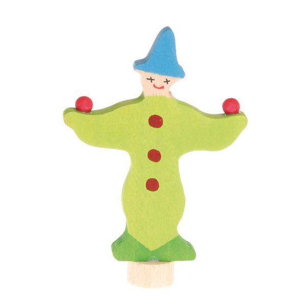 Grimm's Spiel & Holz Birthday Ring Decoration - Green Juggling Clown