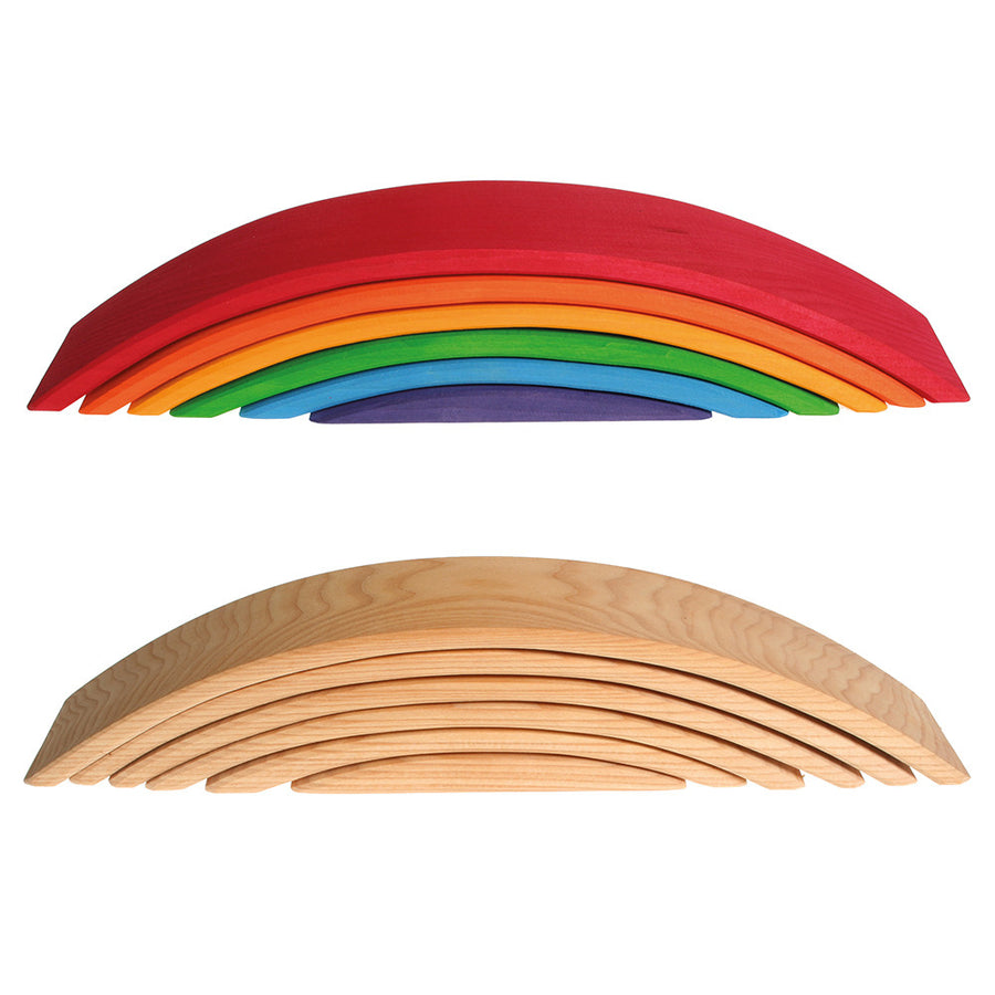 Grimm's Spiel & Holz - Wooden Nesting Bridges - Rainbow and Natural