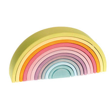 Grimm-s Pastel Wooden Rainbow Tunnel Large 12 Piece Pastels