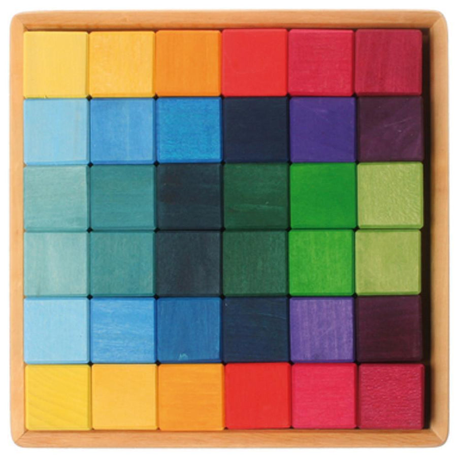 Rainbow Wooden Cubes - 36 Blocks with Tray