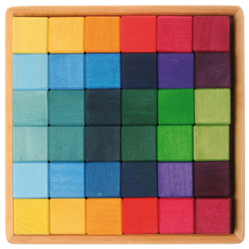 Grimm's Rainbow Wooden Cube Blocks 43110