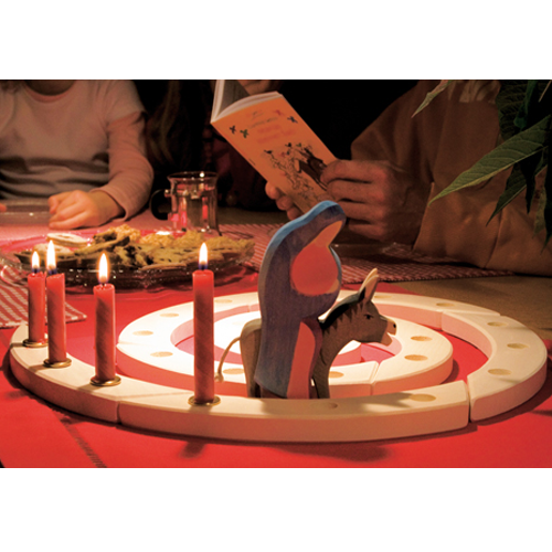Wooden Advent Spiral, with Candles and Ostheimer Mary and Donkey