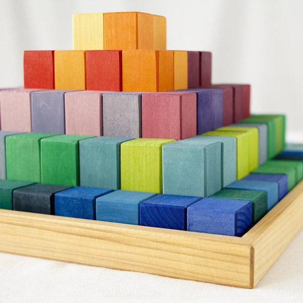 Grimm's Spiel & Holz, Large Stepped Pyramid Wooden Blocks, Detail