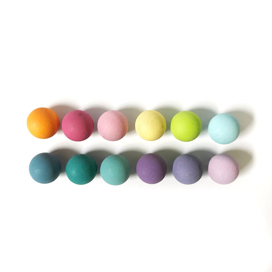 Grimm's Pastel Wooden Balls - Set of 6 - Bella Luna Toys