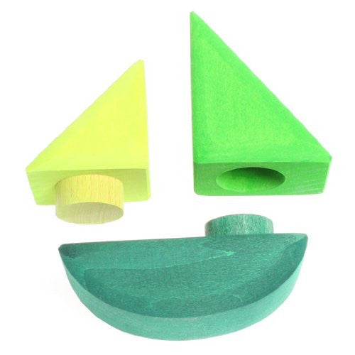 Wooden Sailboat Blocks, 3 Pieces, Green
