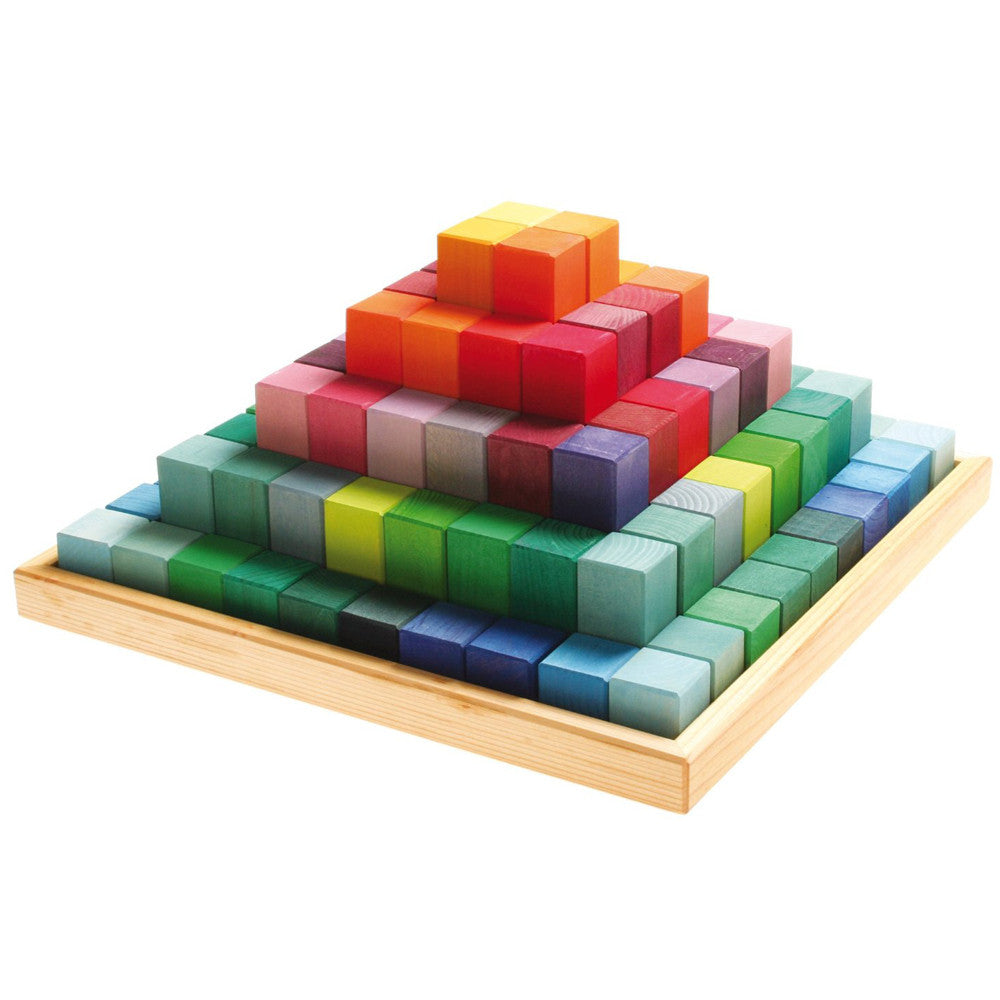 Grimm's Spiel & Holz, Large Stepped Pyramid Wooden Blocks Set