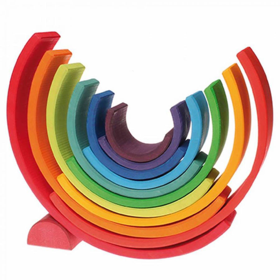 Grimm's Large Wooden Stacking Nesting Rainbow Tunnel