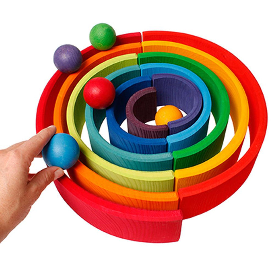 Grimm's Spiel & Holz Small Wooden Rainbow Balls - Stacking Tunnel - Bella Luna Toys