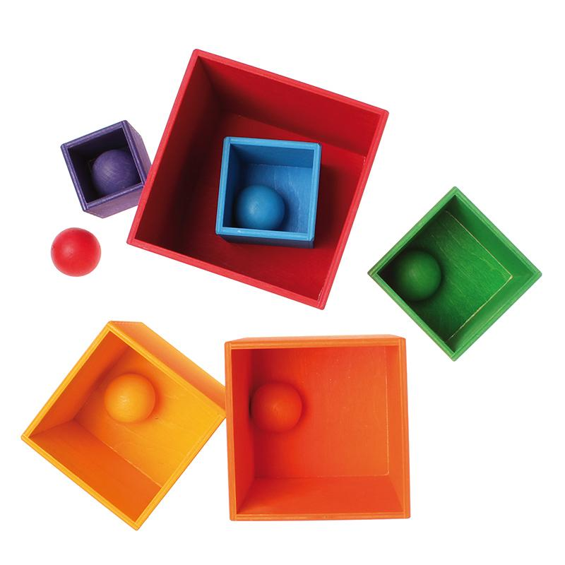 Rainbow Marbles in Boxes - Grimm's Spiel & Holz - Bella Luna Toys