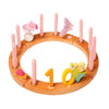 Grimm's Wooden Waldorf Birthday Ring - 16 Holes - Natural with Decorations - Bella Luna Toys