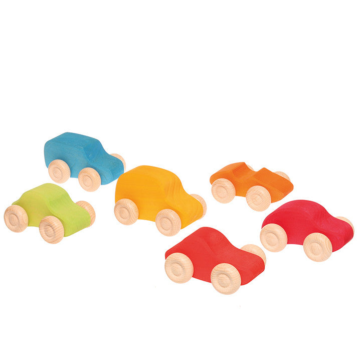 Grimm's Wooden Toy Cars - Rainbow Colors