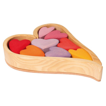 Wooden Heart Puzzle Blocks, Red
