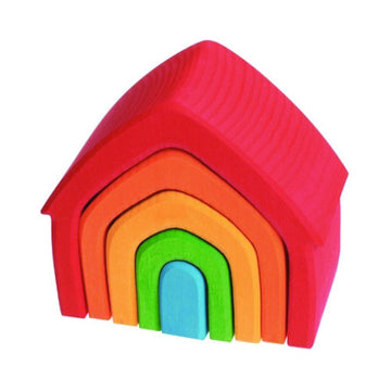Grimm's Wooden Rainbow Nesting House Blocks