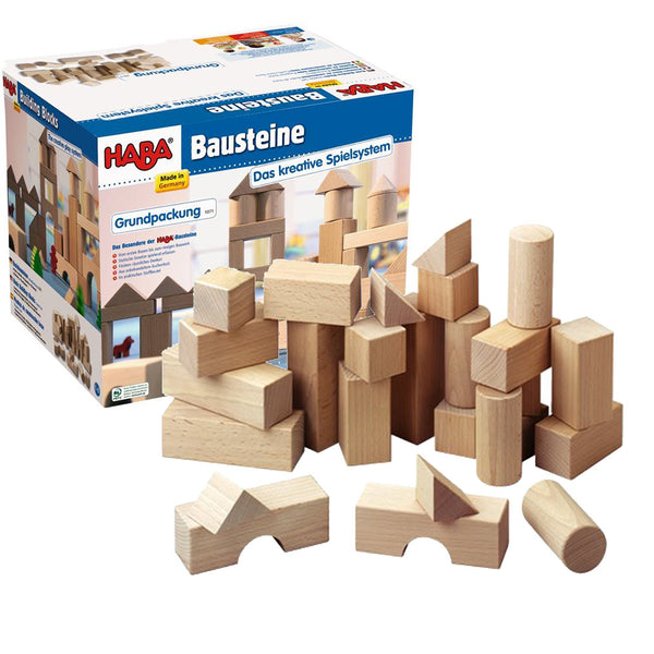 HABA Basic Wooden Building Blocks - Small Starter Set