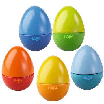 HABA Shakin Eggs Wooden Musical Rattles