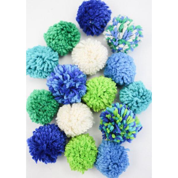 Harrisville Designs Wool Pom Pom Garland Craft Kit for Kids | Blues | Bella Luna Toys
