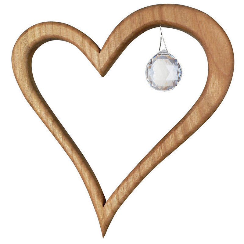 Wooden Heart Suncatcher with Swarovski Crystal