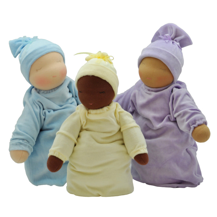 Heavy Baby Waldorf Dolls - Fair/Blue, Dark/Yellow, Cocoa/Lilac