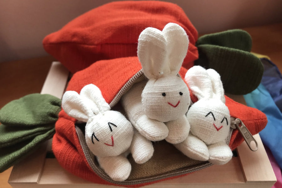 Three Bunnies in a Carrot Pouch Easter Gift - Bella Luna Toys