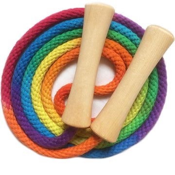 Rainbow Jump Rope with Wooden Handles