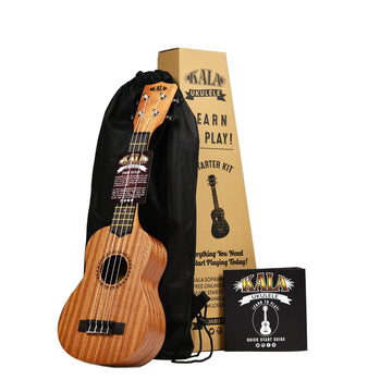 kala mahogany soprano ukulele learn to play starter kit