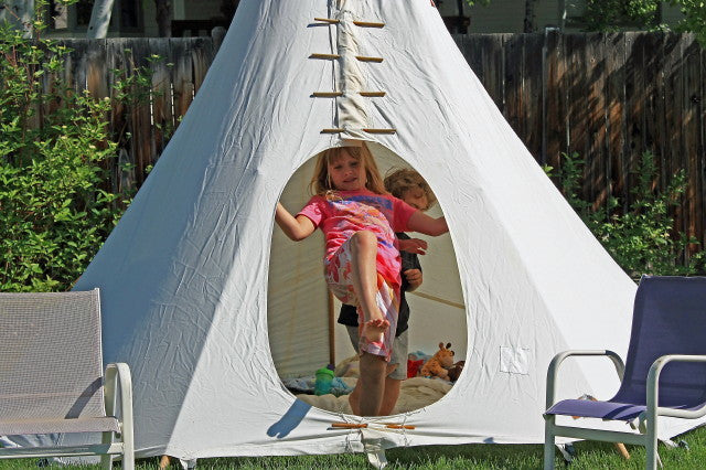 Kids Backyard Teepee Entrance