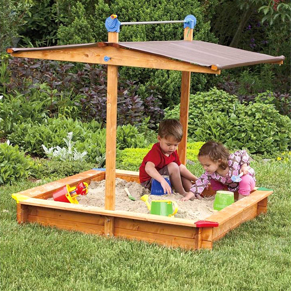 Kid's Covered Wooden Sandbox