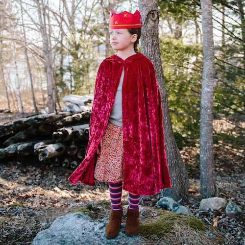 Child's Crushed Red Velvet Cape with Hood