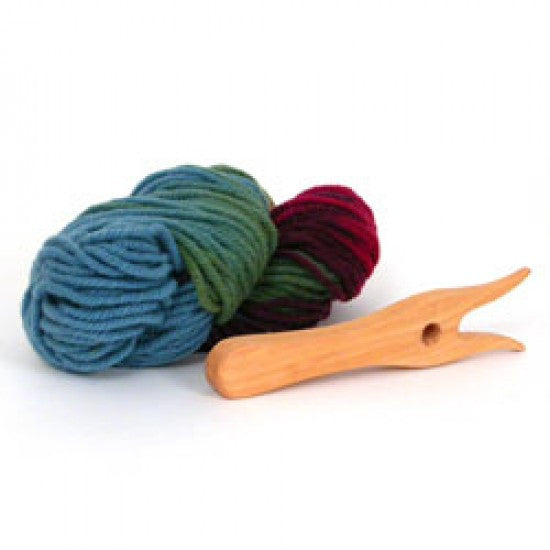 Wooden Knitting Fork (Lucet) and Plant-Dyed Wool Yarn