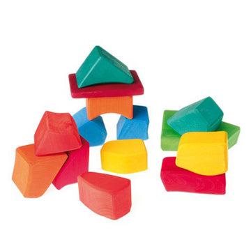 Grimms Spiel Holz, Colored Waldorf Wooden Blocks