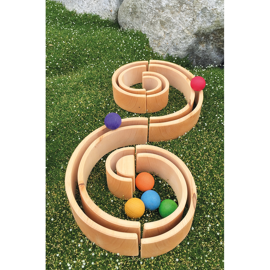 Grimm's Spiel & Holz - Large Wooden Natural Tunnel - Ball Track - 12 Piece