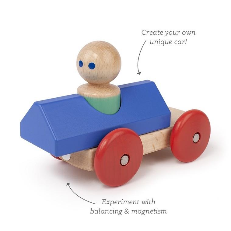 Wooden Magnetic Race Car - Tegu - Blue/Poppy - Features - Bella Luna Toys