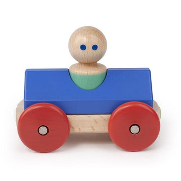 Wooden Magnetic Race Car - Tegu - Blue/Poppy - Bella Luna Toys