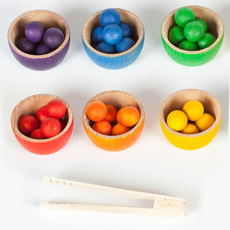 Grapat Bowls and Marbles Sorting Game - Rainbow - Bella Luna Toys