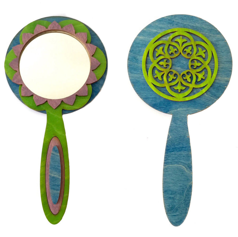 Wooden Laser Cut Hand Mirror Blue Purple - Bella Luna Toys