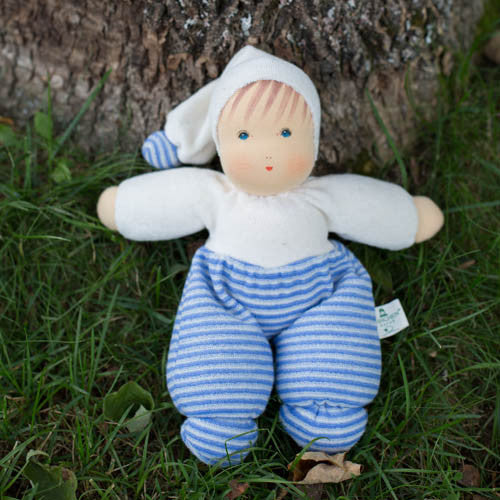 Nanchen Organic Waldorf Cuddle Doll - Blue Stripes