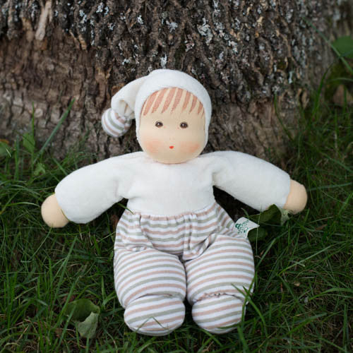 Nanchen Organic Waldorf Baby Doll, Natural Striped