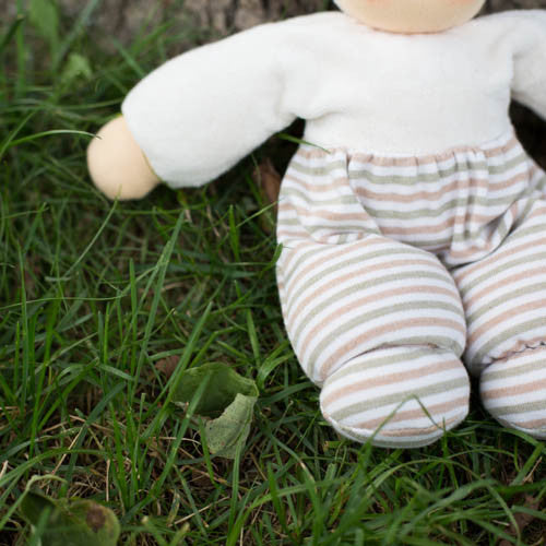 Nanchen Waldorf Cuddle Baby Doll, Natural Stripes, Close-up