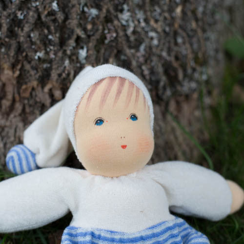 Nanchen Organic Baby Doll, Blue, Close-up