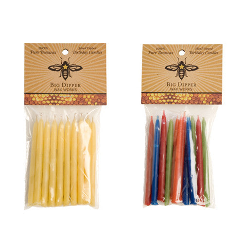 Beeswax Birthday Candles, Natural and Multi-Colored