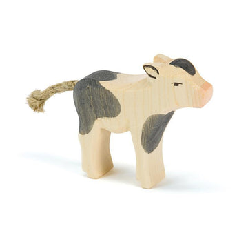 Ostheimer Calf - Black & White Standing - Wooden Farm Animals - Bella Luna Toys