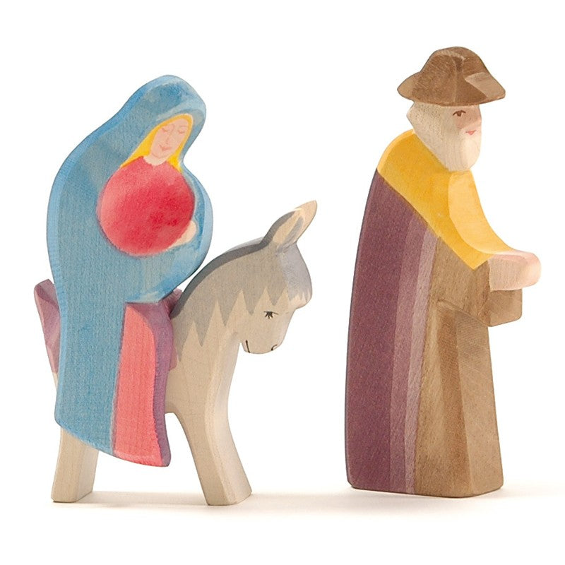 Ostheimer Mary, Donkey & Joseph Walking - Wooden Nativity Figures - Bella Luna Toys