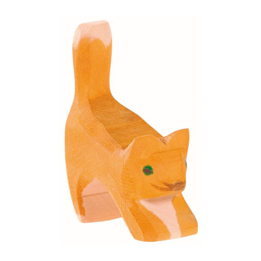 Ostheimer Small Orange Cat, Head Low - Wooden Toy Animal Figure