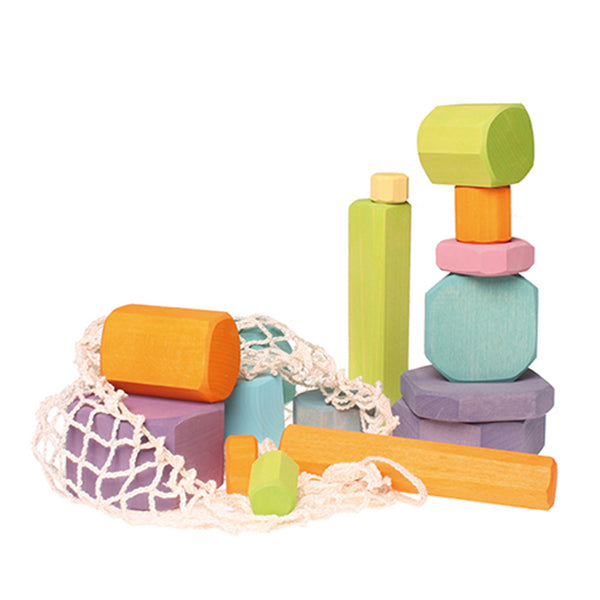 Pastel Tree Slices - Wooden Building Blocks Set