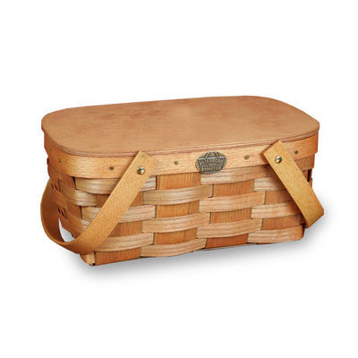 Kids Wooden School Lunch Picnic Basket with Lid, Honey