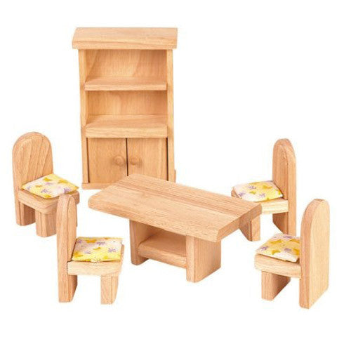 Elegant Wooden Dollhouse Furniture, Plan Toys, Dining Room